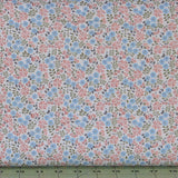 Peach Pink, Blue and Green Floral on White Calico from Flo's Little Flowers Collection