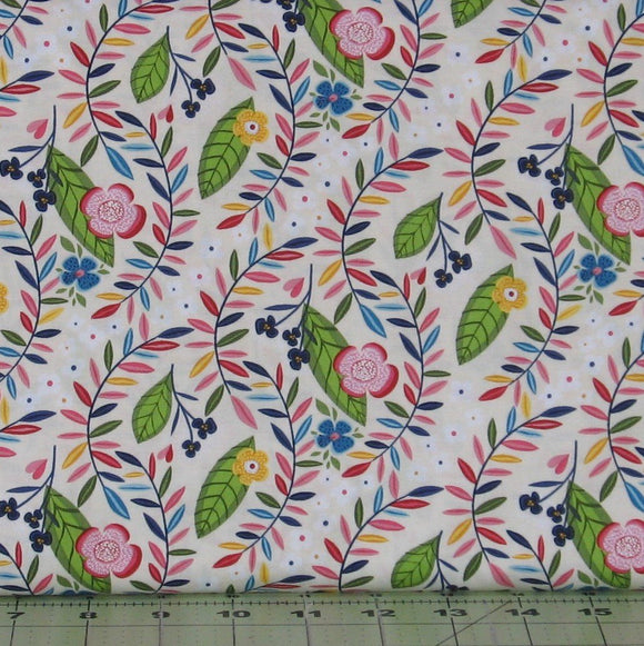 Blue, Green, Pink and Yellow Floral on White & Cream Background from the Helen's Meadow Collection by Clothworks, Y2223-57