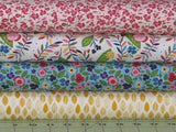 Four Pink, Yellow, Blue and Green Fabrics from the Helen's Meadow Collection
