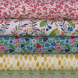 Four Pink, Yellow, Blue and Green Fabrics from the Helen's Meadow Collection by Clothworks