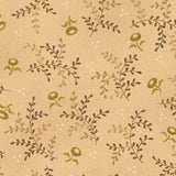 Small Brown Leaves and Flowers on Cream from the Helping Hands Collection by Kim Diehl for Henry Glass Fabrics