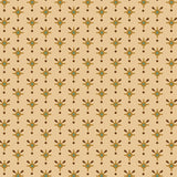 Small Brown, Gold and Green Design on Cream from the Helping Hands Collection by Kim Diehl for Henry Glass Fabrics