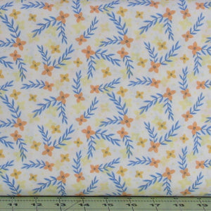 Orange, Yellow and Blue Floral on White from the Do What You Love Collection by Alisse Courter for Camelot Fabrics, 2241504-1