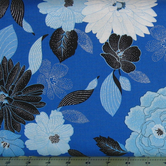 Blue Brilliance Floral in Blue from the Blue Brilliance Collection by Greta Lynn for Kanvas Studio, 8805P-55