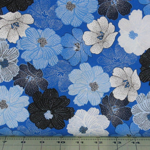 Packed Shimmer Flower in Blue from the Blue Brilliance Collection by Greta Lynn for Kanvas Studio, 8811P-54