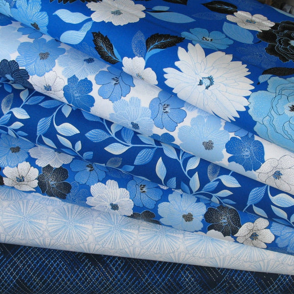 6 Fabrics from Blue Brilliance Collection, Greta Lynn for Kanvas Fabrics