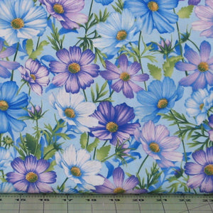 Cosmos in Blue from the Botanica Blooms Collection by Color Principle for Henry Glass, 8937-11