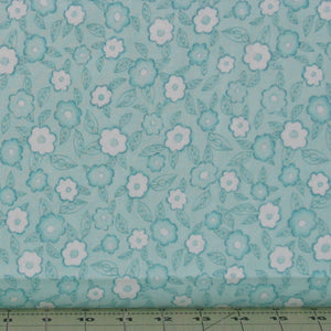 Teal and White Floral from the Frankturs and Flourishes Collection by Michelle Palmer for Red Rooster Fabrics, 469926566-AQU1