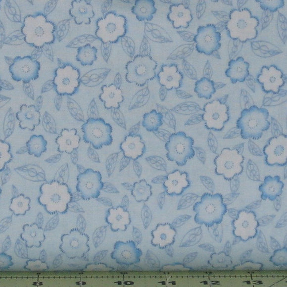 Blue and White Floral Blender Fabric from the Frankturs and Flourishes Collection by Michelle Palmer for Red Rooster Fabrics, 469926566-BLU1
