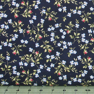 Small Pink and Blue Flowers with Green Leaves on Dark Navy Blue from the Roses on the Vine Collection by Marti Michell for Maywood Studio, 8435-N