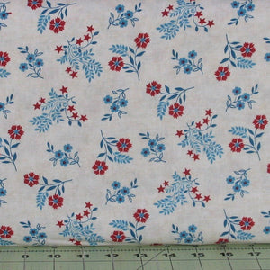 Blue and Red Floral on Ivory Background, Heartland Collection by Jennifer Brinley