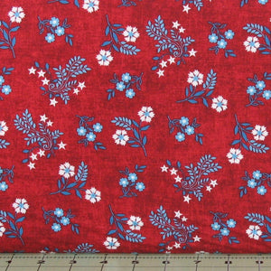 Blue and white floral on red background, Heartland Collection, Studio e