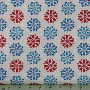 Blue and Red Floral Medallion on Ivory from the Heartland Collection by Jennifer Brinley for Studio e Fabrics, 3645-44
