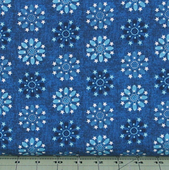 Blue Tone on Tone Floral and Star Medallion, Heartland Collection by Jennifer Brinley