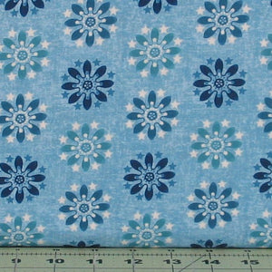 Blue, Aqua and White Floral and Star Medallion from the Heartland Collection by Jennifer Brinley for Studio e Fabrics 3645-11