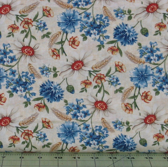 Blue, Green, Gold and Red Floral on Ivory Background from the Heartland Collection by Jennifer Brinley for Studio e Fabrics, 3643-44
