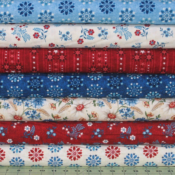 7 Red, Blue and Beige Fabrics from the Heartland Collection by Jennifer Brinley for Studio e Fabrics