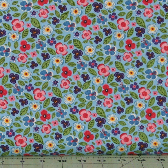 Purple, Blue, Green, Pink and Yellow Floral on Light Blue Background from the Helen's Meadow Collection by Clothworks, Y2226-29