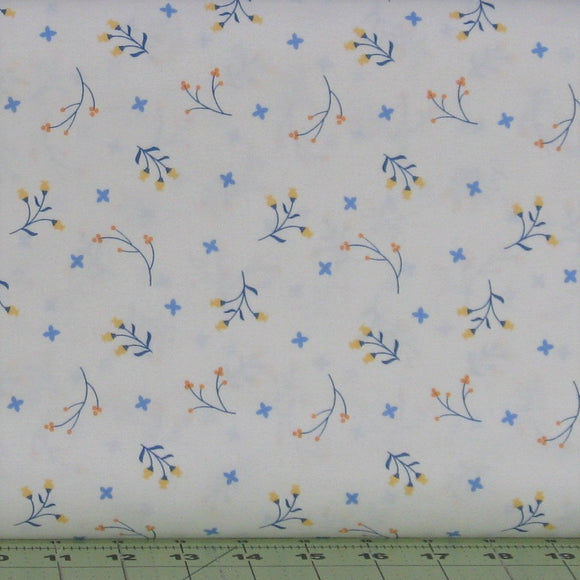 Blue, Orange and Yellow Floral on White from the Do What You Love Collection by Alisse Courter for Camelot Fabrics, 2241503-1