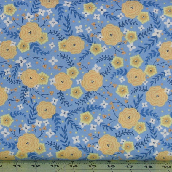 Orange, Yellow and White Floral on Blue from the Do What You Love Collection by Alisse Courter for Camelot Fabrics, 2241501-2