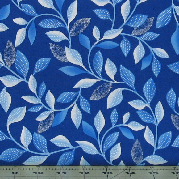 Shimmer Leaves in Blue from the Blue Brilliance Collection by Greta Lynn for Kanvas Studio, 8806P-55