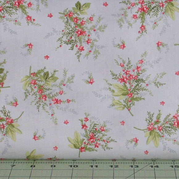 Heather Sprigs, Pink and Green Floral on a Soft Gray Background, Heather Collection