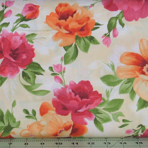 Orange, Pink, and Green Large Floral on a White and Beige Background from the Paradise Collection by Maywood Studio, 8453-E