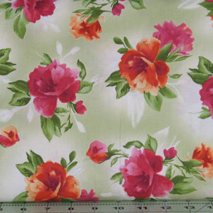 Orange, Pink, Red and Green Floral on Mottled Green Background, Paradise Collection, Maywood Studio