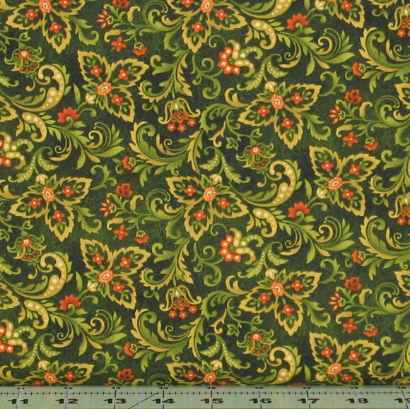 Paisley in Forest Green with Orange Accents from the Autumn Album Collection by Color Principle for Henry Glass Fabrics, 2019-66