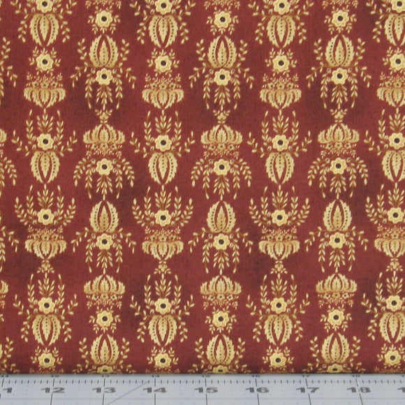 Cream Floral on Dark Red Background from the Farmstead Harvest Collection by, Kim Diehl for Henry Glass Fabrics, 6943-88