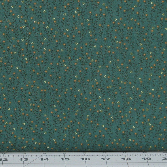 Cream, Black and Gold Floral on a Dark Teal Background from Farmstead Harvest Collection