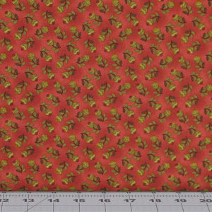 Green, Black and Dark Red Floral on a Red Background from Farmstead Harvest Collection by Kim Diehl for Henry Glass Fabrics, 6939-22