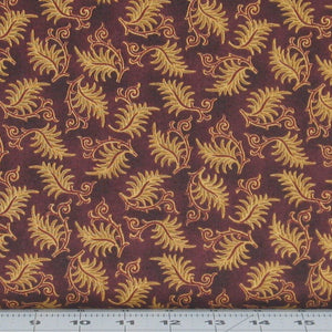 Cream and Red Leaf and Scroll Design on Burgundy from the Farmstead Harvest Collection by Kim Diehl for Henry Glass Fabrics, 6938-55