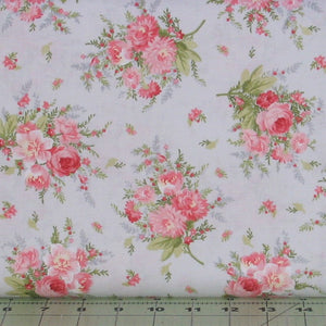 Pink and Green Floral on Gray, Heather Collection, Jennifer Bosworth, Maywood Studio