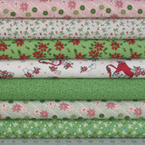 7 Christmas Fabrics from Greetings Collection by Kaye England of Back Porch Prints for Wilmington Prints