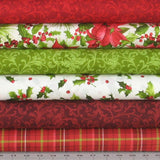 Poinsettia and Pine Fabric