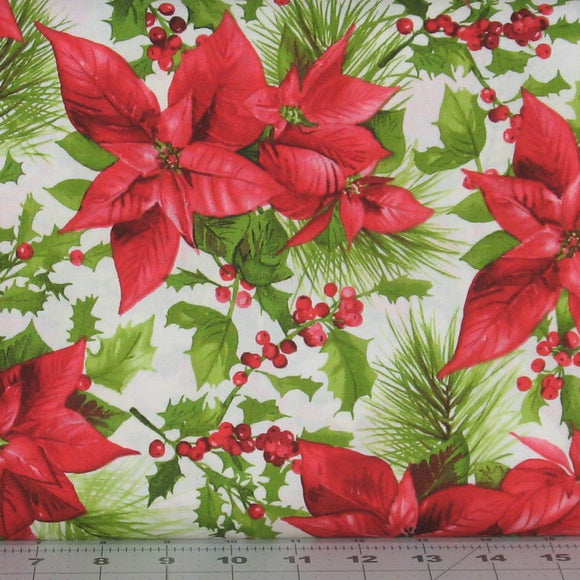 Poinsettia Mixed Floral in White, Christmas Fabric, Poinsettia and Pine Collection, Maywood Studio