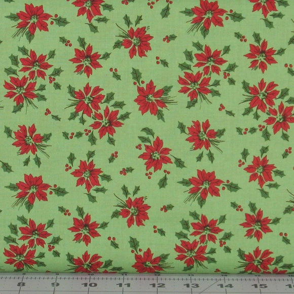 Red Poinsettias and Green Holly on a Green Background from the Greetings Collection by Kaye England for Wilmington Prints, 98612-737