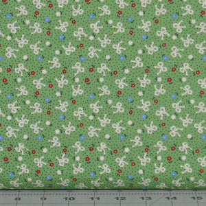 Ribbons and Flowers on a Green Dotted Background from the Greetings Collection by Kaye England for Wilmington Prints, 98620-714