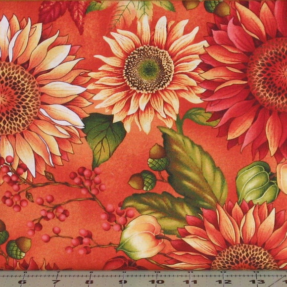Deep Orange, Red and Gold Sunflowers in Pumpkin from the Autumn Album Collection by Color Principle for Henry Glass Fabrics, 2018-35