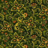Paisley in Forest Green with Orange Accents from the Autumn Album Collection by Color Principle for Henry Glass Fabrics