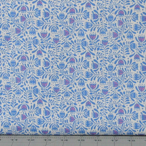 Blue and Pink Stylized Floral on White from Hann's House Collection by Lewis & Irene Fabrics, A278-1