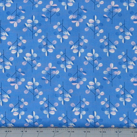 Pink and White Stylized Floral on Blue from Hann's House Collection by Lewis & Irene Fabrics, A280-2