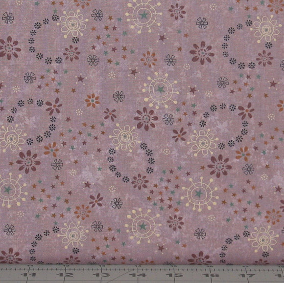 Purple, Gold, Brown, Black and Teal Floral on a Medium Purple from the My Back Porch Collection by Janet Rae Nesbitt for Henry Glass Fabrics, 8920-55