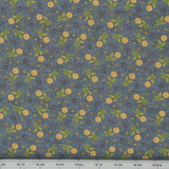 Gold, Green and Teal Floral on Dusty Blue, My Back Porch Collection, Janet Rae Nesbitt