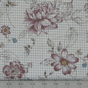 Dark Purple and Teal Floral on Check, My Back Porch Collection, Janet Rae Nesbitt