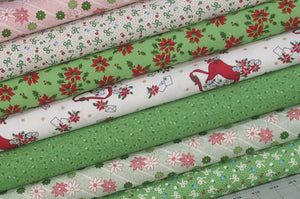 7 Christmas Fabrics from Greetings Collection by Kaye England of Back Porch Prints