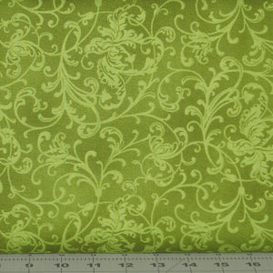 Elegant Scrolls in Green from the Poinsettia and Pine Collection by Maywood Studio, 9126-G2