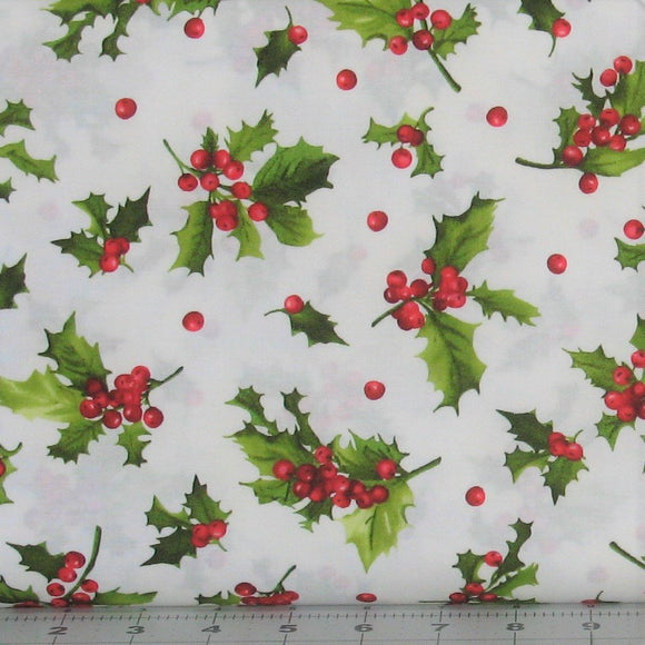 Holly and Berries in White from the Poinsettia & Pine Collection by Maywood Studio, 9123-E