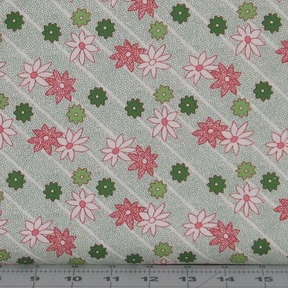 Green, Red and White Poinsettias on White with Green Dots from the Greetings Collection by Kaye England for Wilmington Prints, 98616-173